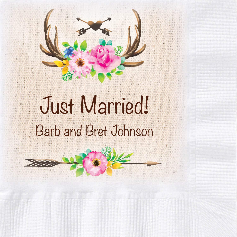 Custom Printed Wedding Napkins, Floral Design, 250 ct