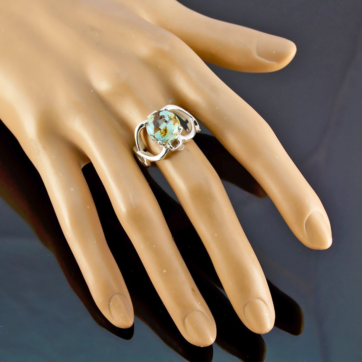 Most Jewellery Good Seller Gift for Anniversary Most Rings 925 Silver Blue Turquoise Real Gemstones Ring Real Gemstones Round cabochon Turquoise Ring