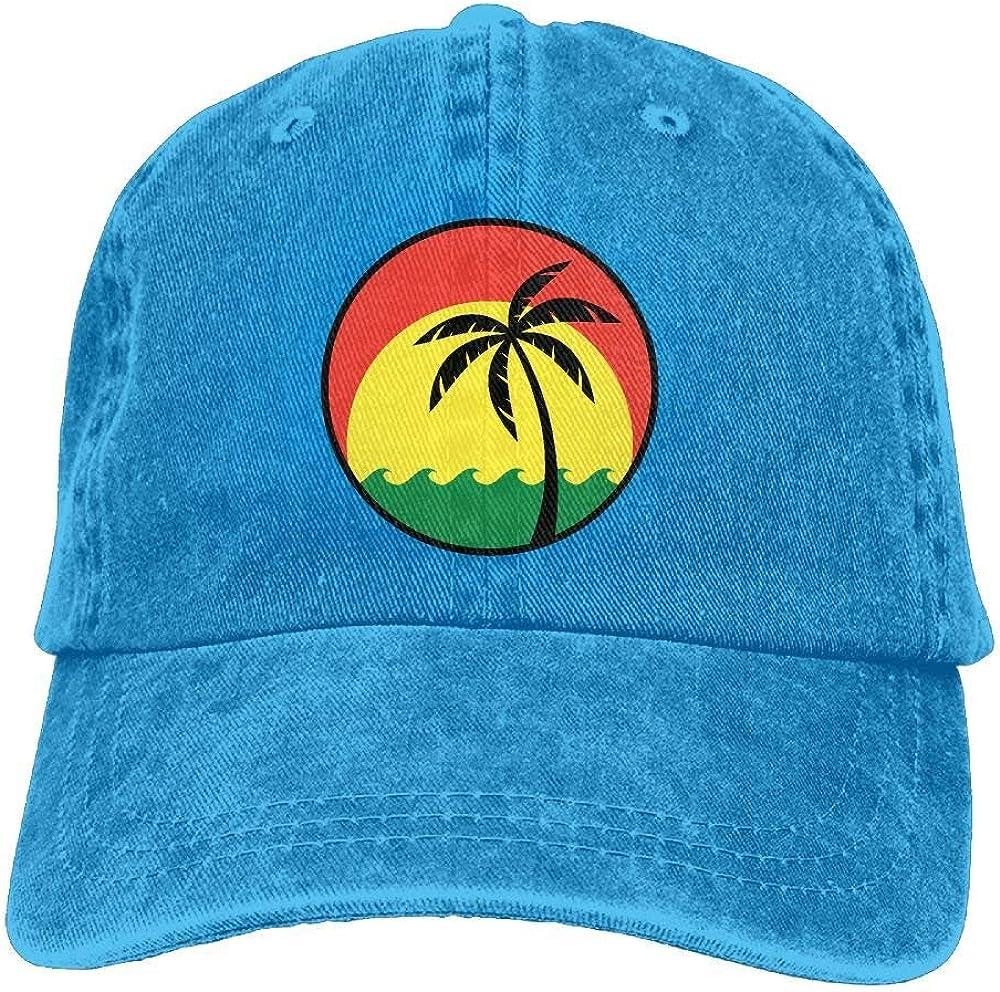 Coconut Tree Reggae Color Jamaican Denim Dad Cap Baseball Hat Adjustable Sun Cap