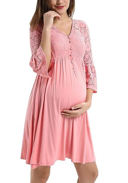 Amazon.com: Vestido de lactancia de encaje modal Patchwork A ...