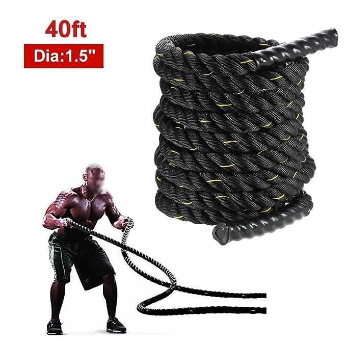 TOMSHOO Cuerda de Batalla Battle Rope Cuerda Fitness Formación Ejercicio de Diámetro de 38mm Longitud de 12m: Amazon.es: Deportes y aire libre