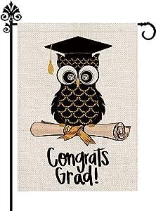 Owl Graduation Garden Flag Congrats Grad Congratulations Yard Flags Burlap Vertical Double Sided Celebrate Class of 2021 Diploma Cap Sign Decor 12.5 x 18 Inch