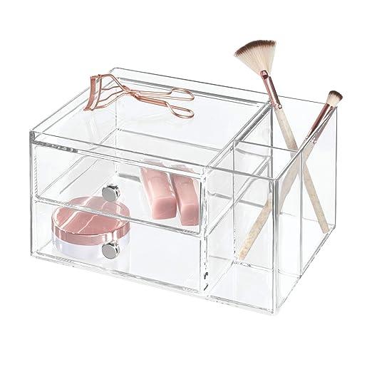 InterDesign Drawers Caja con compartimentos | Caja de maquillaje con 2 cajones y bandeja superior | Organizador de maquillaje o artículos de oficina | ...