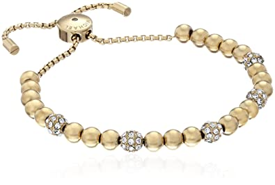 Amazoncom Michael Kors Blush Rush GoldTone Bead Bangle Bracelet