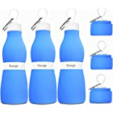 Biange Collapsible Water Bottle 24oz, Foldable Silicone Travel Water Bottle Leakproof BPA Free Portable Sports Water Bottles with Carabiner for Hiking, Cycling
