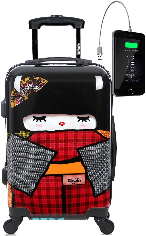 TOKYOTO - Maleta de Cabina Equipaje de Mano, Japan Doll con Cargador USB, 8000mAh, 55x40x20 cm | Maleta Juvenil, Trolley de Viaje Ryanair, Easyjet | Maleta de Viaje Rígida Divertida