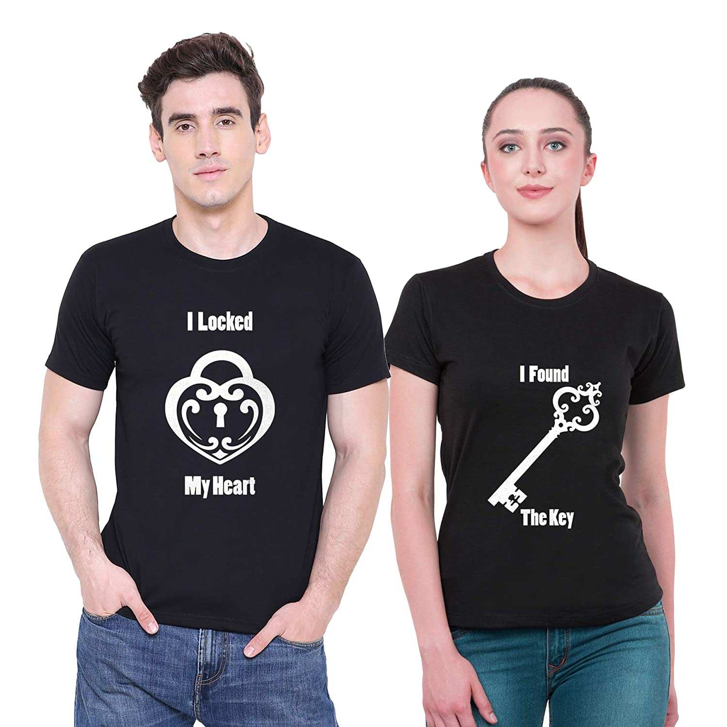 5f4aa94fd8 iberry's Lock & Key-33 Print Pure Cotton Casual Valentines Couple Tshirts:  Amazon.in: Clothing & Accessories