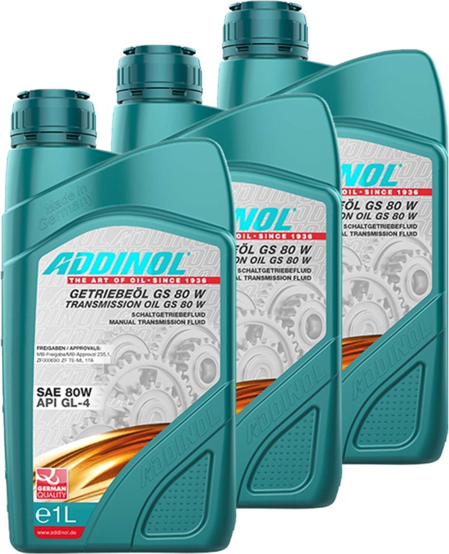 Addinol 74200107 Gear Transmission Oil Fluid Lubricant Sae 80w Gs 80w 1l 3x Auto