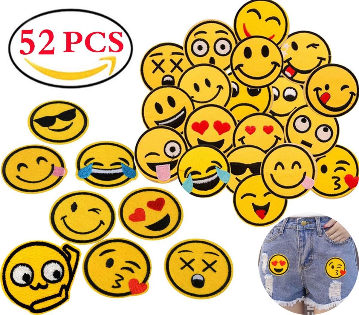 Liuer Patch Sticker 52PCS Ropa Termoadhesivos Lentejuelas bordados cosidos insignia de parche bordado decoración Cute DIY para la camiseta Jeans Ropa Bolsas bolso vaqueros mochilas zapatos de lona