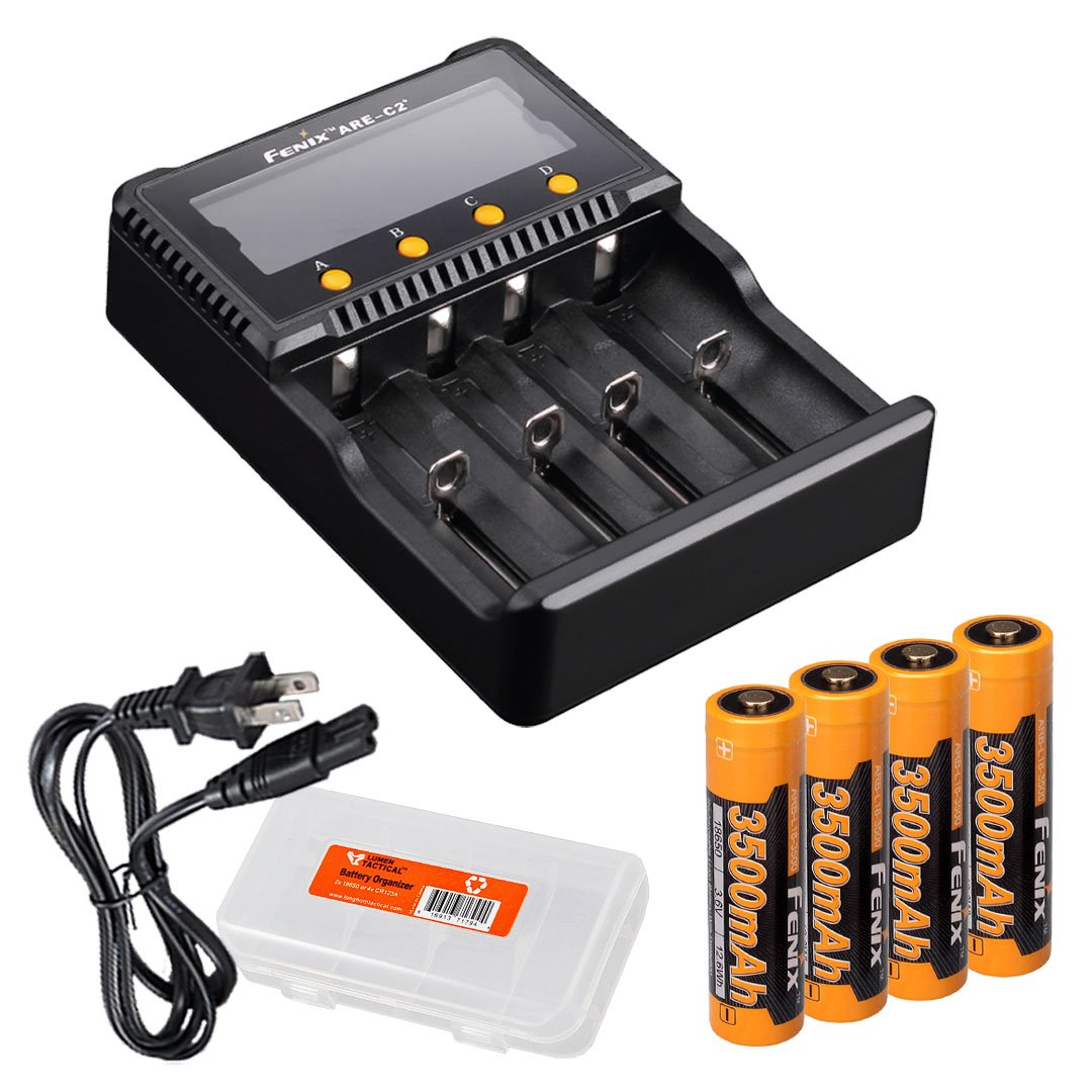 Bundle: Fenix ARE-C2 Plus (ARE-C2+) Four Channel Digital Multi Charger with 4x 3500mAh 18650 Batteries Pack & Lumentac Battery Organizer for Fenix PD35 FD30 FD41 TK15 TK35 TK75 LD75C