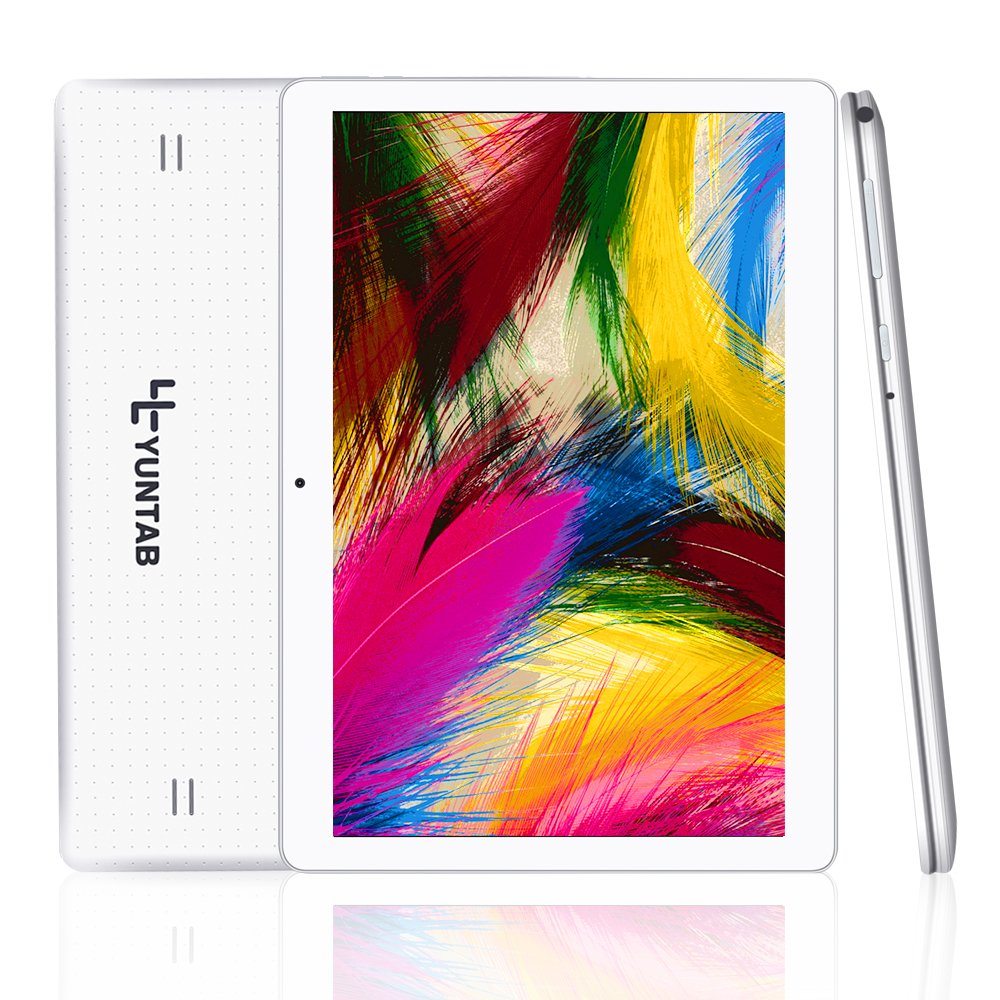 Yuntab 10.1 inch Tablet Android 5.1 Wifi Unlocked 3G Phone Tablet PC 1GB+16GB MTK 6580 Quad-Core IPS Screen 1280x800 Dual camera Cell phone Support 2G 3G Wifi Dual SIM Card Bluetooth (White)