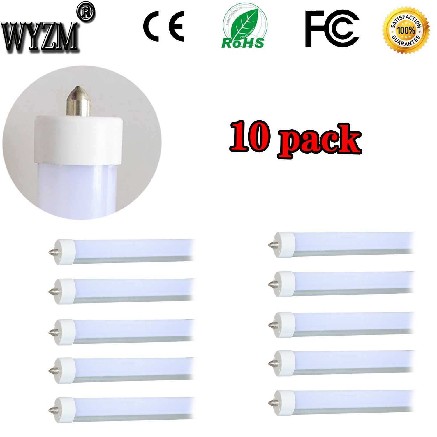 40W 96'' T12 8ft LED Tube Single Pin,F96T12 8' LED Fluorescent Tube Replacement,120V 277V Input,4500K Neutral White,4000LM Frost lens Super Bright (10PCS 4500K Neutral White)