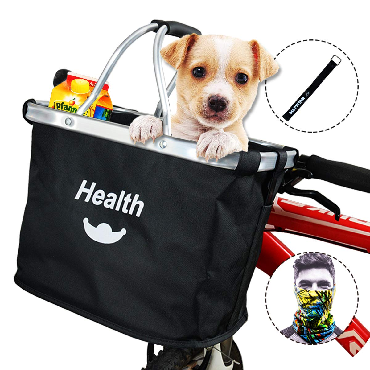 with Phone Pouch Removable 600D Water Resistant Oxford Cloth MattiSam Bicycle Basket 5KG Load Capacity Pet Cat Dog Carrier Quick Release Folding Bike Basket Drawstring Front Handlebar Bag