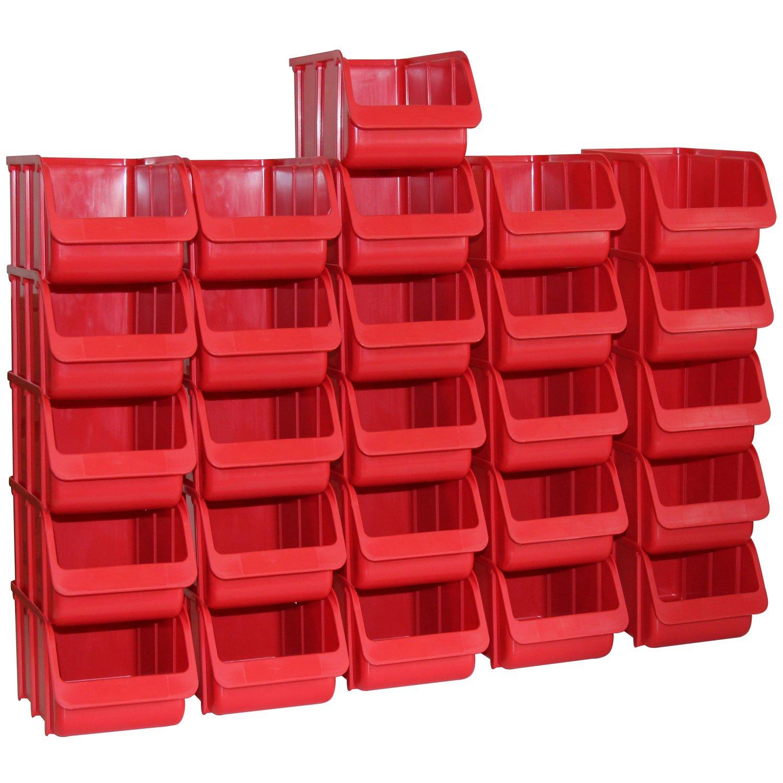 26x Profi Sichtboxen PP Grö ß e 3 rot NEU Stapelbox Sicht-Lagerbox Boxen Sichtbox Hergestellt für BAUPROFI