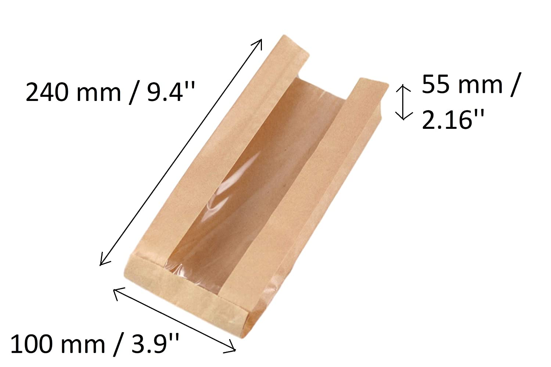con Ventana de Almacenamiento Brown Gusset Bags 100 Bolsas de Papel de Regalo para Bodas de 55 x 240 mm Fiestas Color marr/ón