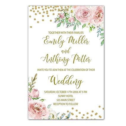 Create Wedding Invitations.Amazon Com 100 Wedding Invitations Blush Pink Gold Confetti Floral