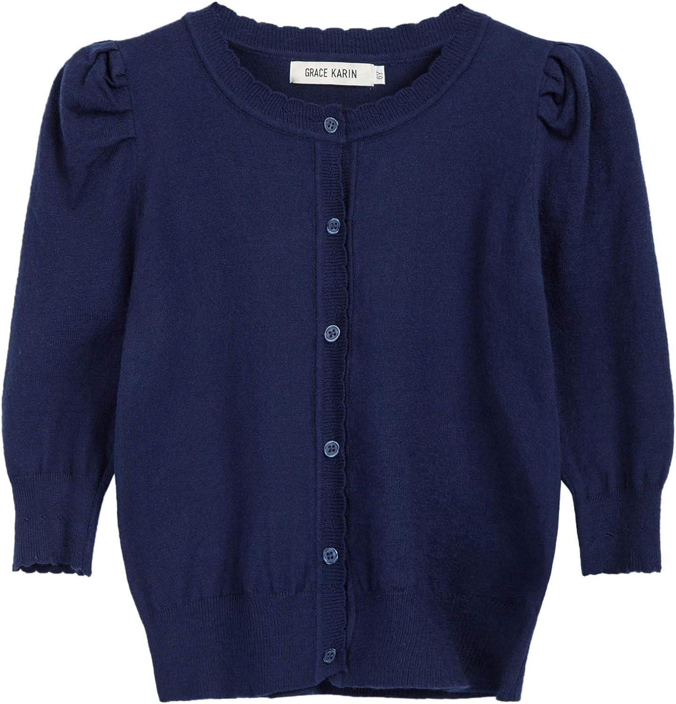 GRACE KARIN Girls 3/4 Puff Sleeve Button Sweater Uniform Cardigans: Clothing