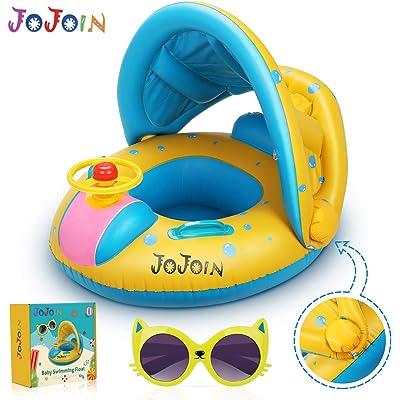 Jojoin Flotador Hinchable Bebé, Anillo de Natación para Bebé, Flotador de Natación Inflable de la Piscina del Bebé con Asiento Respaldo Techo Ajustable para Niños al Piscina y Playa en Verano