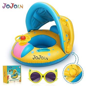 Jojoin Flotador para Bebé, Inflable Flotador con Asiento, Anillo Flotador para Bebés (3-36 Meses), con Gafas de Sol, PVC no Tóxico y Duradero, Visera ...