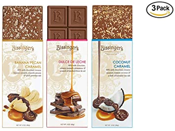 Bissingers Milk Chocolate Gift Set (3-Pack) - Dulce De Leche, Coconut