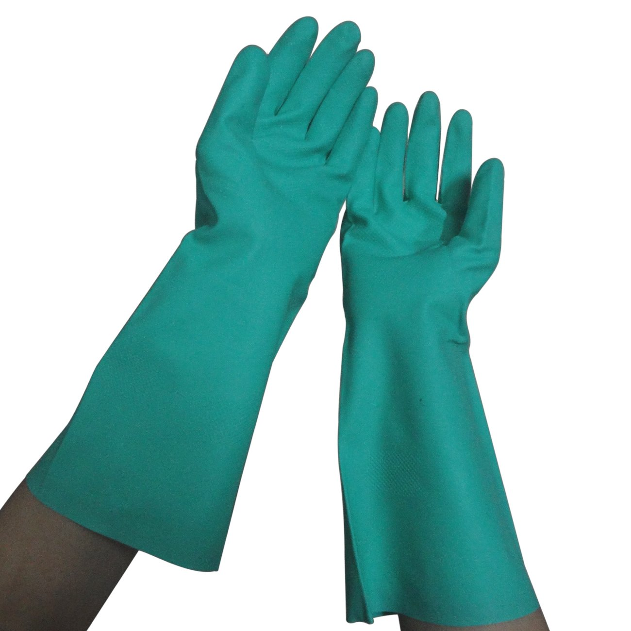 Tripop Heavy-Duty Nitrile Gloves, Household Cleaning Gloves with Effective Resistance to Oil, Acid, Alkali & Solvent (Green, Large)