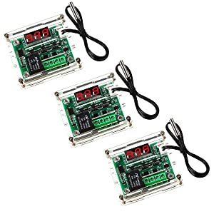 DaFuRui 3Pack W1209 Temperature Controller Module with Case,Red Digital Display Temperature Control Module DC 12V with 30cm Waterproof -50~110℃ Probe