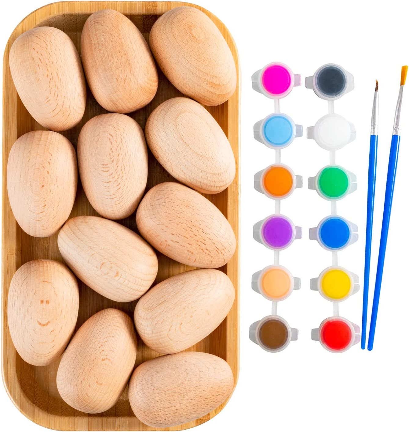 MerryHeart 12 Pcs Unpainted Wooden Eggs with Pigment, DIY Easter Eggs Decoration, Natural Beech Wooden Eggs for Crafts, Wooden Fake Eggs for Kids to Paint, Kitchen Decor/Food Toys
