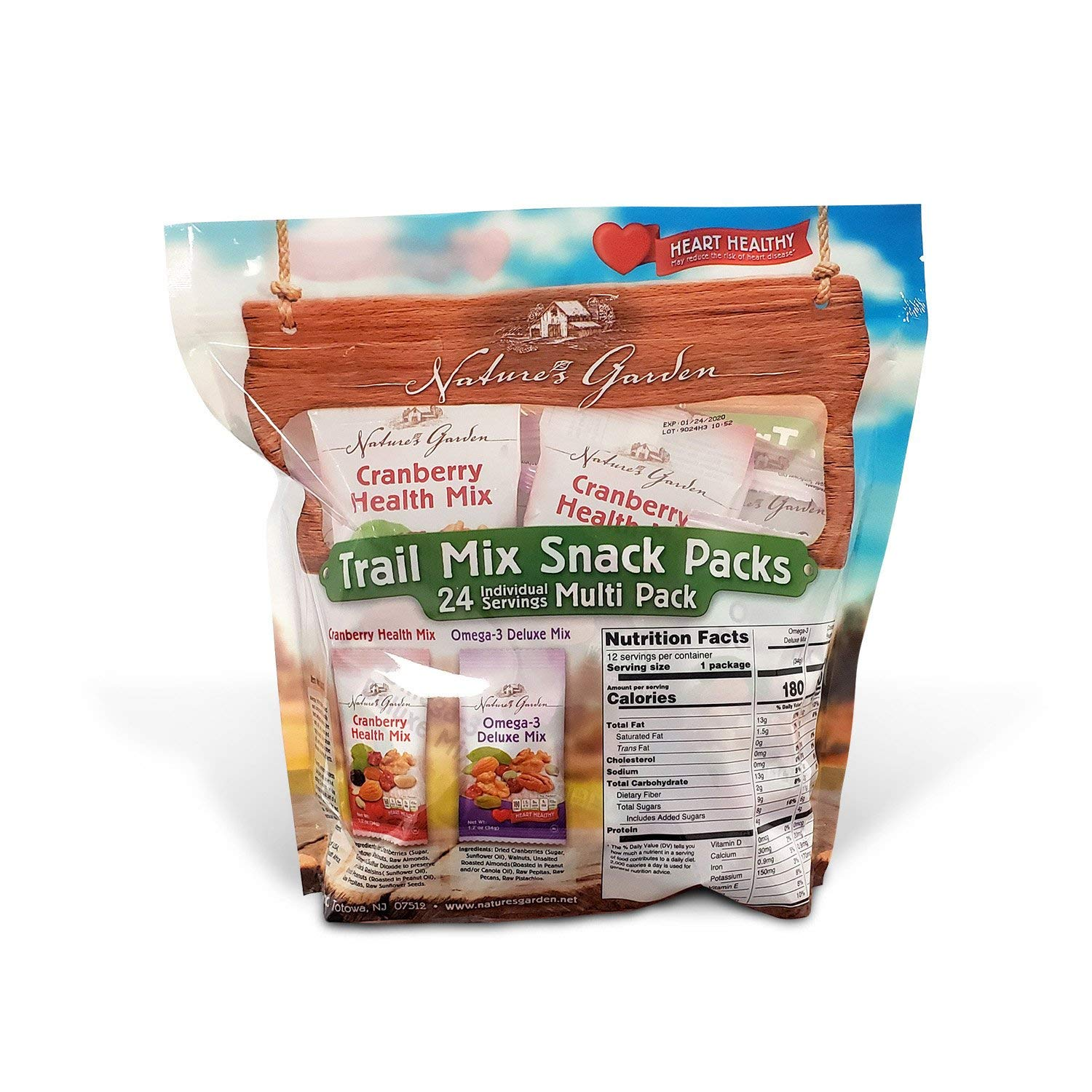 Nature's Garden Trail Mix Snack Packs, Multi Pack 1.2 oz bags, Pack of 24, Omega-3 Deluxe Mix, Cranberry Health Mix (Pack of 2) by Nature's Garden (Image #2)