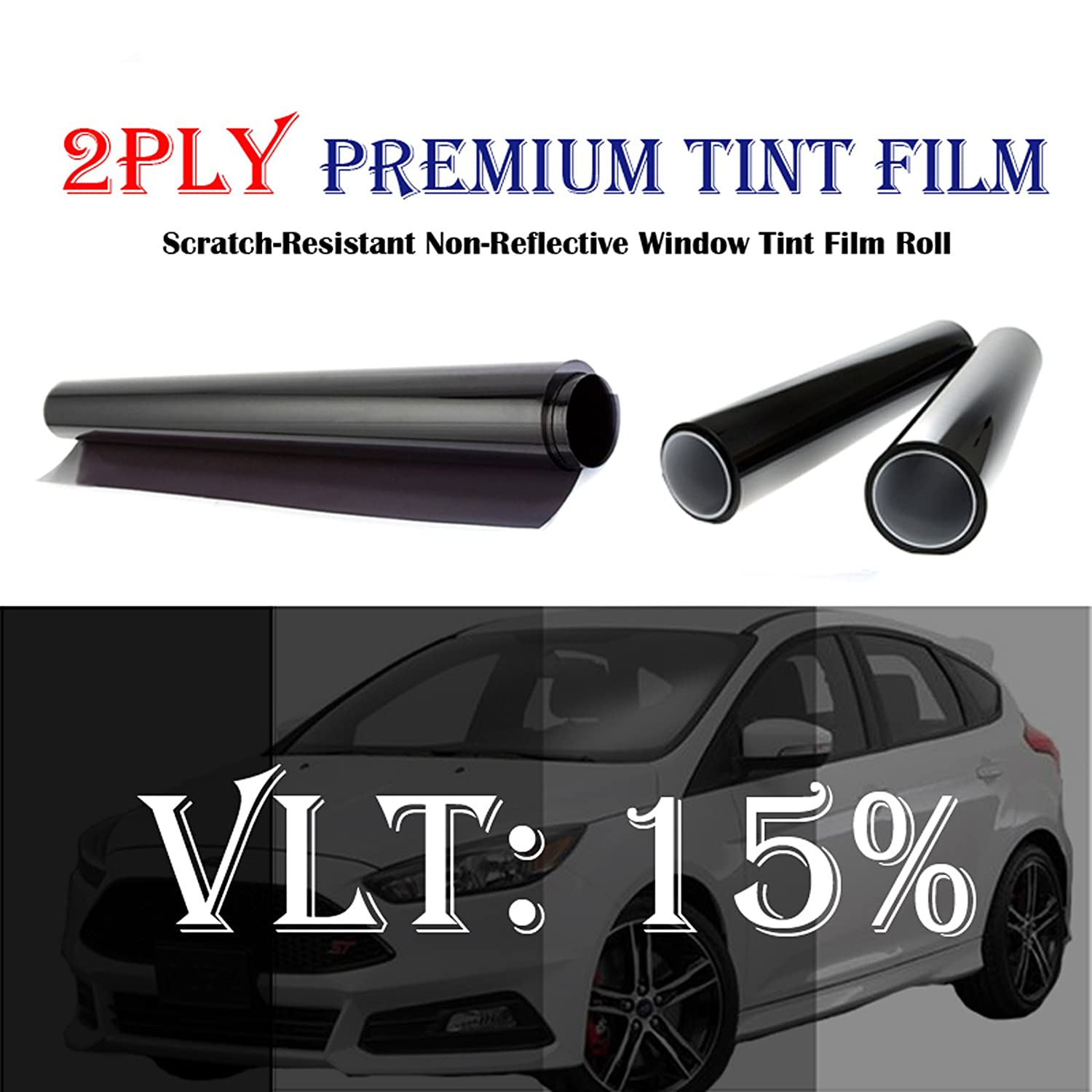 Mkbrother 2PLY 1.5 mil Premium 15% VLT 24 in x 100 Ft (24 x 1200 Inch) Feet Uncut Roll Window Tint Film Auto Car Home