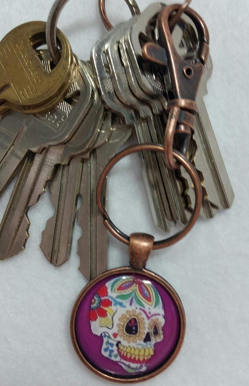 Sugar Skull Keychain Day of the Dead Key Ring Purple FOB Accessory Lobster Claw