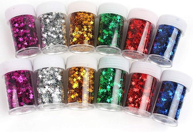 12 Pack Colorful Manicure Stars Shape Glitter Confetti, Simuer ...