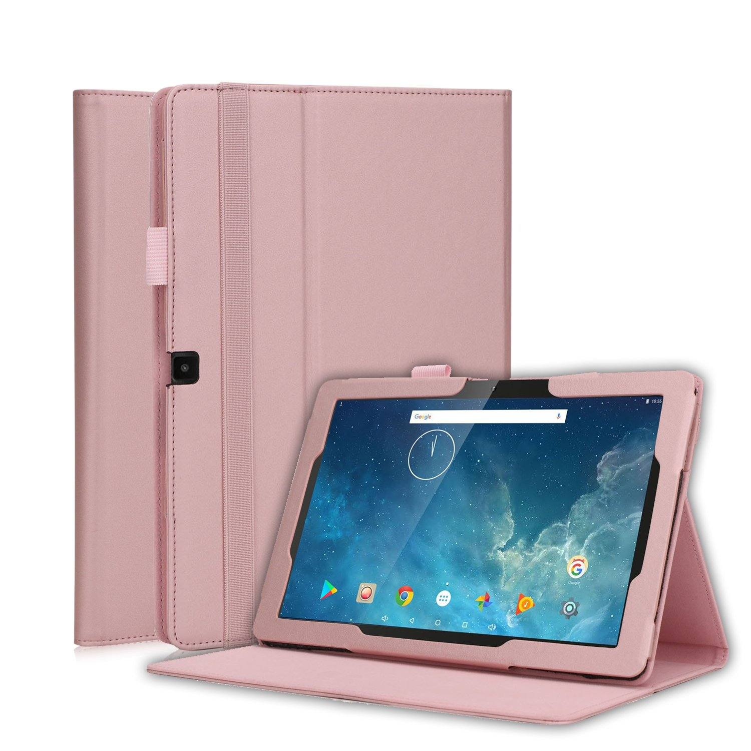 Dragon Touch 10.1 inch X10 Tablet Case, Premium PU Leather Folio Stand Cover with Velcro Hand Strap for Dragon Touch X10 2017 Edition, Fusion5 104+, IVIEW-1070TPC-II 10.1-Inch Tablet (Rose gold)
