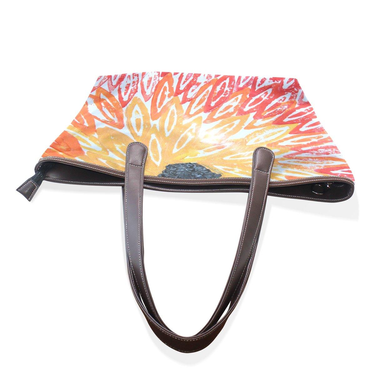 COOSUN COOSUN COOSUN Abstrakte SonnenBlaume Groß Tote PU-Leder-Handgriff-Schulter-Beutel-Taschen-Tasche L (33x45x13) cm MultiFarbe   003 B07C3NWTGP Schultertaschen Kaufen Sie online 0ad5be