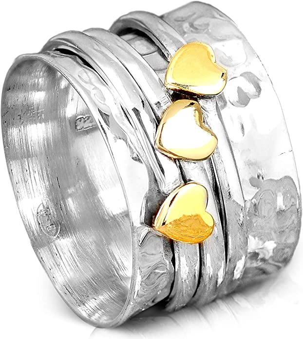 925 Sterling Silver Band /& Brass méditation Spinner Ring Bijoux toutes tailles J-1200