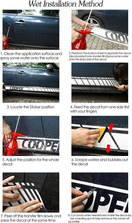 Interior automotriz para Mini Cooper S One JCW R56 R57 R50 R52 R53 F55 F56 F57 Pegatina de Rayas Laterales de Puerta Accesorios de calcoman/ía de Cuerpo de Falda a Cuadros