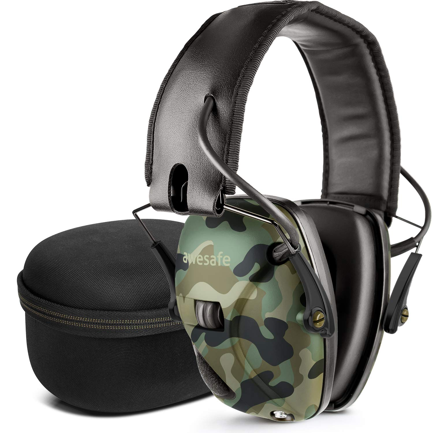 awesafe Electronic Shooting Earmuff, Noise Reduction Sound Amplification Electronic Safety Ear Muffs and Storage Case, Camo ...