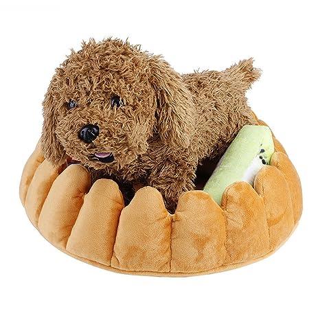 GFEU - Cama Acolchada para Perro, con Forma de Tarta de Peluche, cómoda y