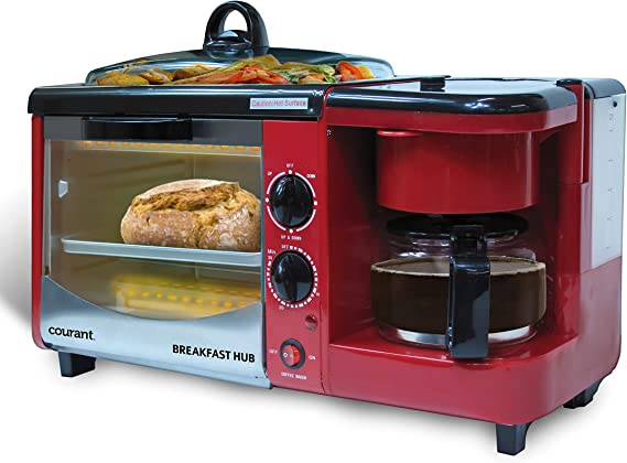 Red Courant CBH-4601R 3-in-1 Multifunction Breakfast Hub 4 Slice Toaster Oven, Large 10 Diameter Griddle Pan, 5 Cup Coffee Maker
