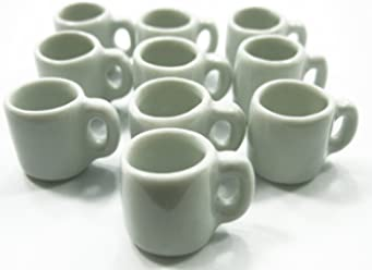 Dolls House Miniature 10 NEW Heart Paint Ceramic Coffee Mugs Cup #M Charms 5852