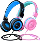 iClever Kids Headphones 2 Pack - Wired Headphones for Kids with MIC, Volume Control Adjustable Headband, Foldable - on Ear Headphones Kids for School iPad Tablet Kindle Airplane,Blue/Pink