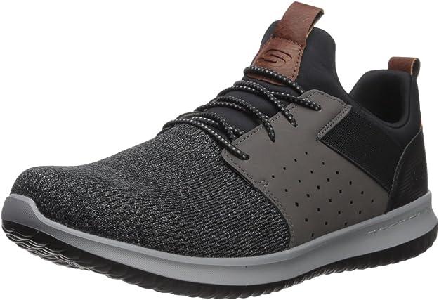 Skechers Men's Classic Fit-Delson-Camden Sneaker,black/Grey,10.5 M US
