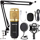ZINGYOU Condenser Microphone Bundle, BM-800 Mic Kit with Adjustable Mic Suspension Scissor Arm, Metal Shock Mount and Double-
