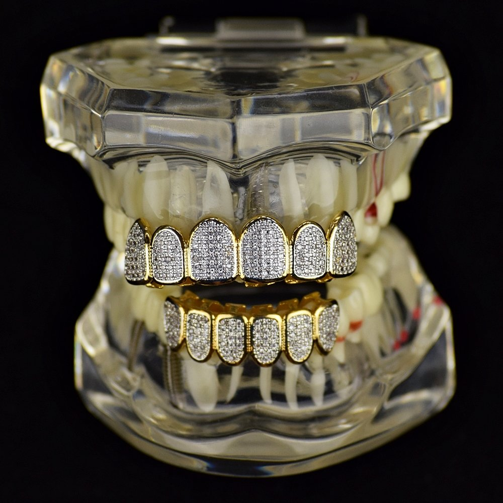 Premium CZ Grillz Set 2-Tone 14K Gold Plated with Silver Finish Bling Cubic Zirconia Teeth Hip Hop Grills by Bling Cartel (Image #2)