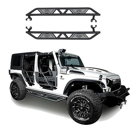 Hooke Road 2007 2018 JK Black BLADE Side Steps Nerf Bars For Jeep Wrangler  JK