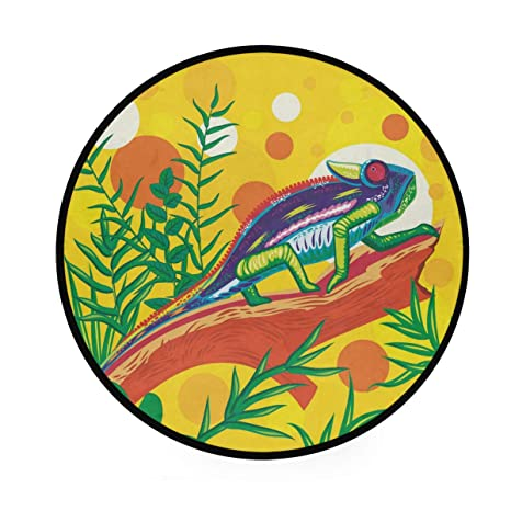 Chameleon Alfombra redonda de área amarilla, antideslizante ...