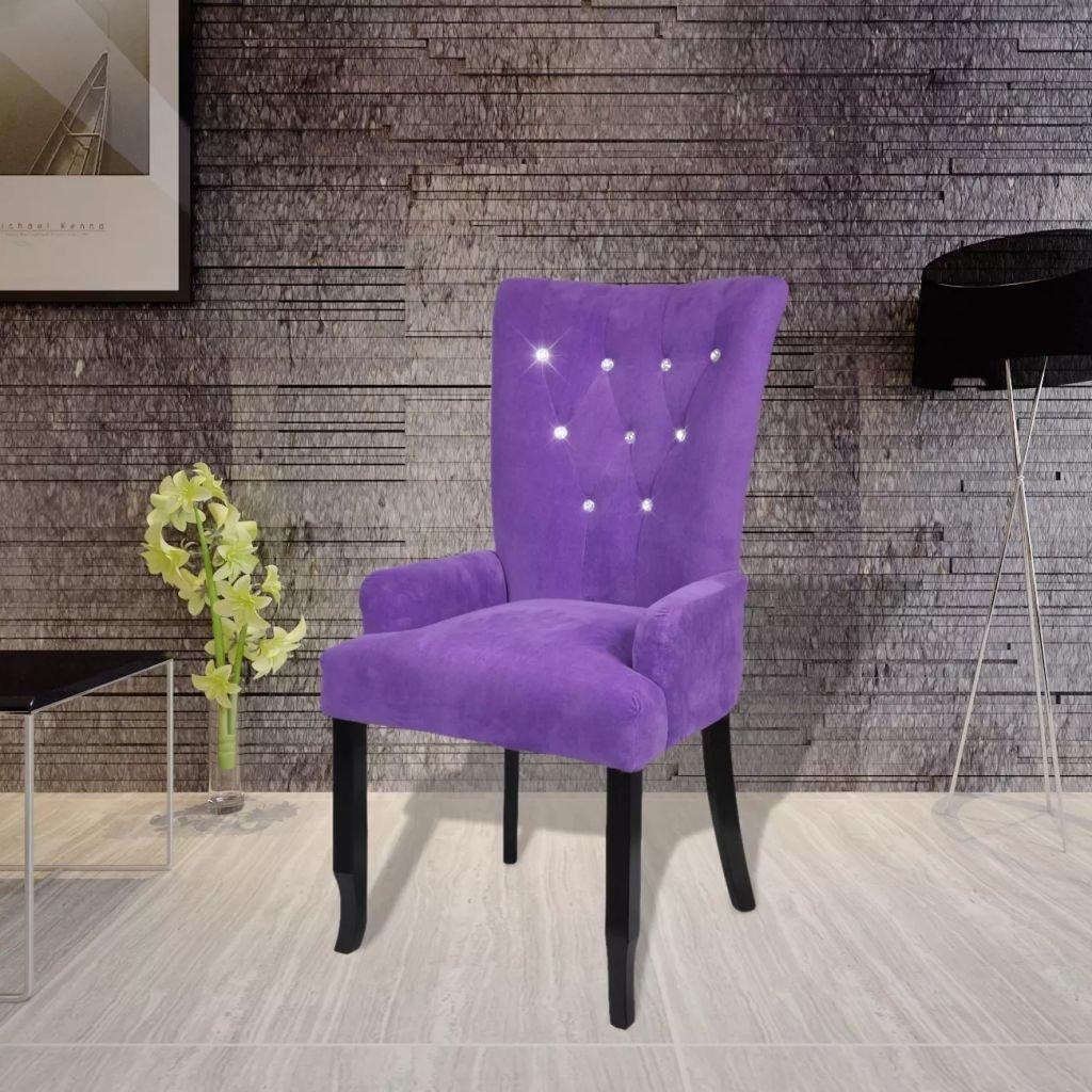 Xingshuoonline Sillón con Marco de Madera Color Terciopelo Púrpura Sillon Altura del Asiento Desde el Suelo: 53,5 cm