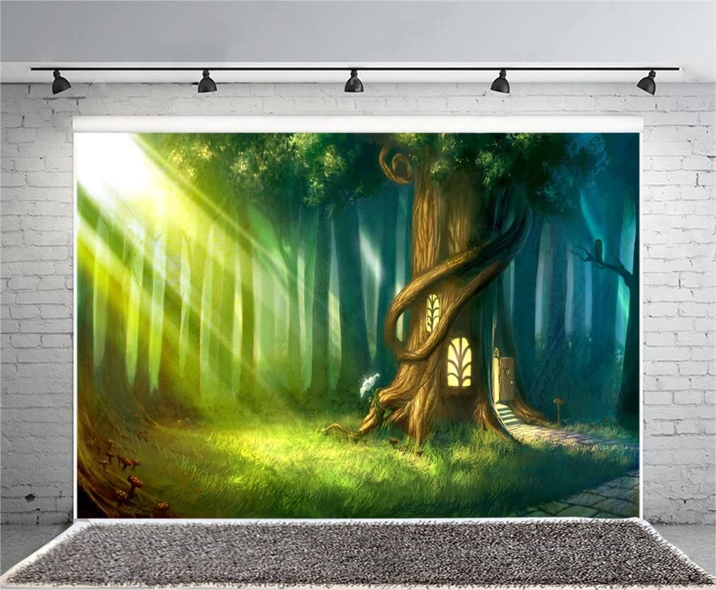 YongFoto 3x2m Sfondo Fotografico Fairytale Garden Waterfall Mushroom Rock Stone Grass Incantato Cartoon Compleanno Fondale Foto Festa Bambini Boby Nozze Adulto Partito Studio Fotografico Puntelli