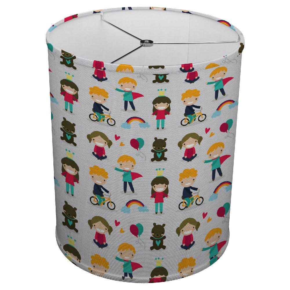 Hardback Linen Drum Cylinder Lamp Shade 8'' x 8'' x 8'' Spider Construction [ Happy Children ]