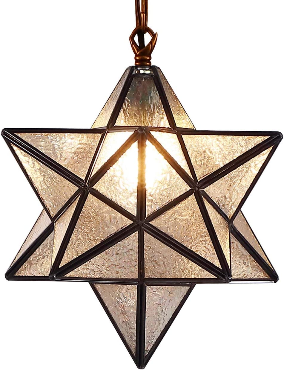 Bieye L10076 Moravian Star Tiffany Style Stained Glass Ceiling Pendant Hanging Lamp with 12-inch Wide Lampshade, 51-inch Tall Iridescent Glass