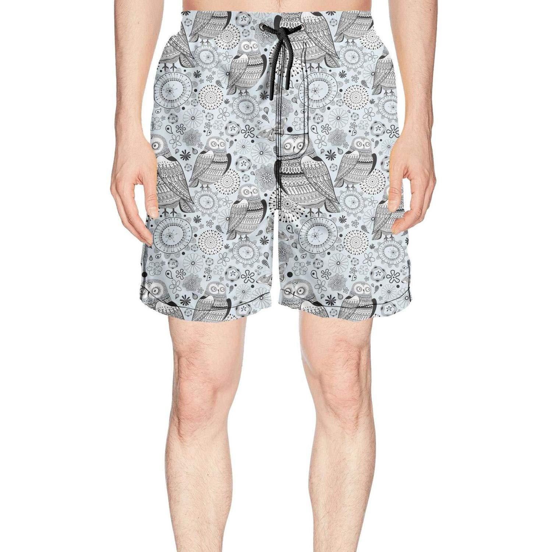 Novelty Graphic Pattern Owls Butterflies Fashion Men's Swimming Trunks Short